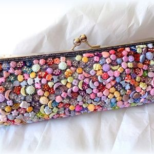 Adorable Multi Colored Beaded Clutch